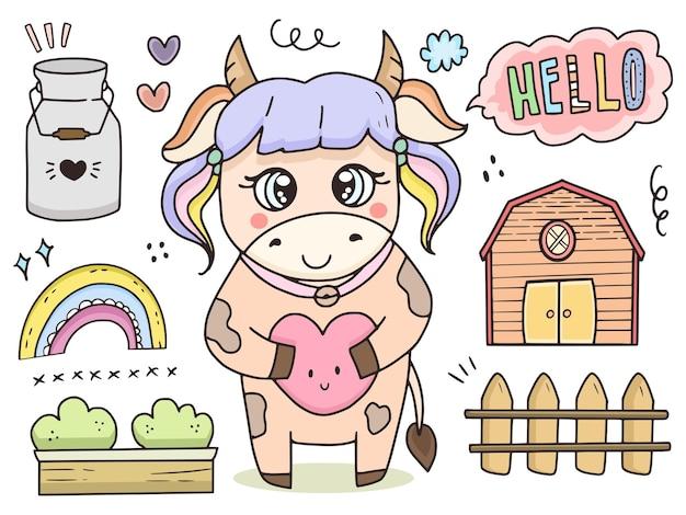 귀여운 암소 동물 낙서 드로잉 그림 만화 아이 컬렉션 집합
