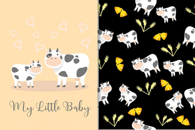 Cute cow animal hand drawn pattern set