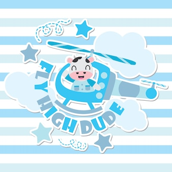 Cute cow as helicopter pilot cartoon background