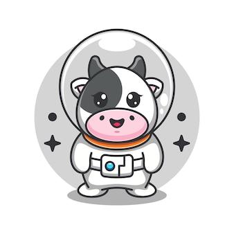 Cute cow astronaut cartoon illustration