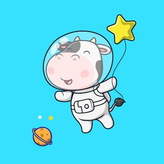 Cute cow astronaut floating in the space illustration
