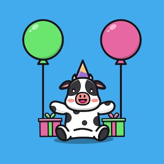 Cute cow birthday party with gift and balloon cartoon illustration