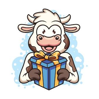 かわいい牛がギフトボックスを持ってきます。アイコンイラスト。白い背景で隔離の動物アイコンの概念