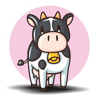 Симпатичные коровы мультипликационный персонаж. концепция мультфильм животных.