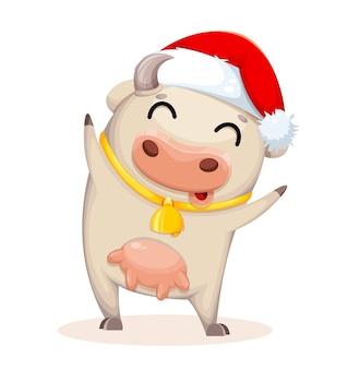 かわいい牛の漫画のキャラクター。中国の旧正月。
