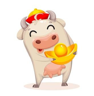 Симпатичные коровы мультипликационный персонаж. китайский новый год