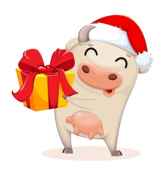 Cute cow cartoon character holding gift box