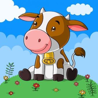 Cute cow cartoon, hand drawn