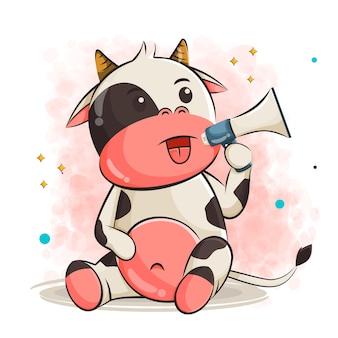Милый мультфильм коровы, держащий иллюстрацию громкоговорителя