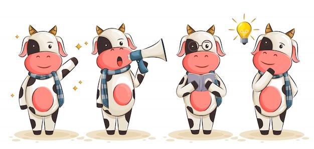 Милая корова иллюстрации шаржа