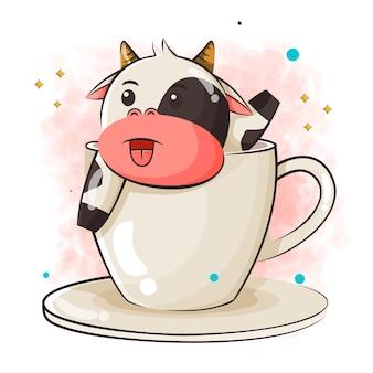 Милый мультфильм коровы в чашке