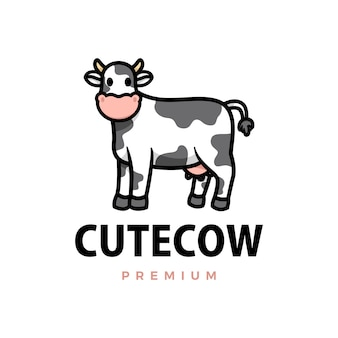 Cute cow cartoon logo  icon illustration