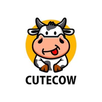 Cute cow cartoon logo