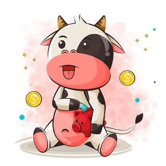 Милый мультфильм коровы экономия денег иллюстрация