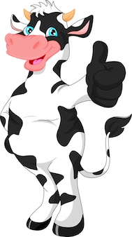 Cute cow cartoon  thumb up