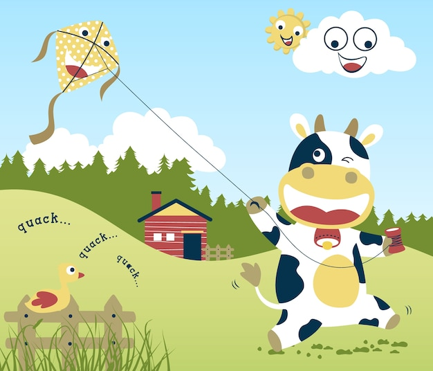 Cute cow cartoon vector playing kite in farm field