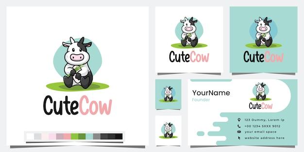 Cute cow, cartoon version, logo design inspiration