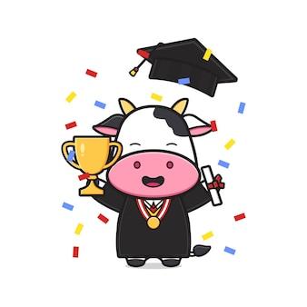 卒業式のかわいい牛のお祝い漫画アイコンイラスト。孤立したフラット漫画スタイルをデザインする