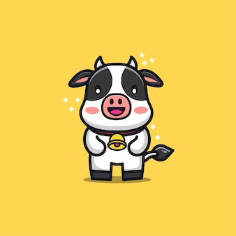 Cute cow character cartoon illustration