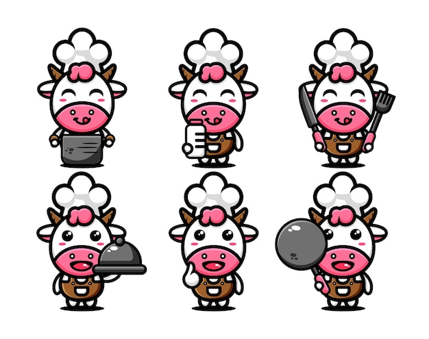 Cute cow character design set themed chef