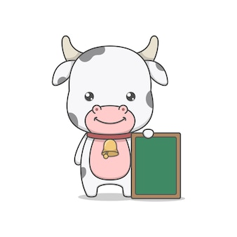 Cute cow character holding board