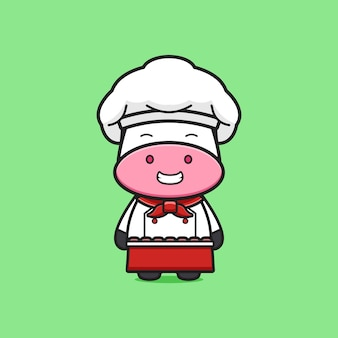 귀여운 소 요리사 마스코트 만화 아이콘 그림입니다. 디자인 고립 된 평면 만화 스타일