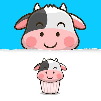 Cute cow cupcake, animal character design.