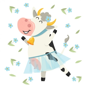 Cute cow dancing in blue skirt.