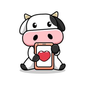 Милый дизайн коровы с телефоном