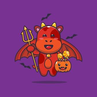 Милая корова дьявол с тыквой на хэллоуин милая иллюстрация шаржа на хэллоуин