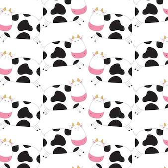 Cute cow doodle pattern