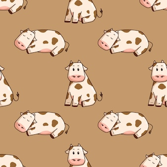 Cute cow doodle style in seamless pattern