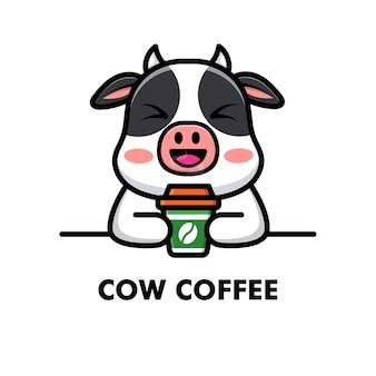 かわいい牛はコーヒー カップを飲む漫画の動物のロゴのコーヒー イラスト
