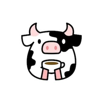 コーヒーを飲むかわいい牛