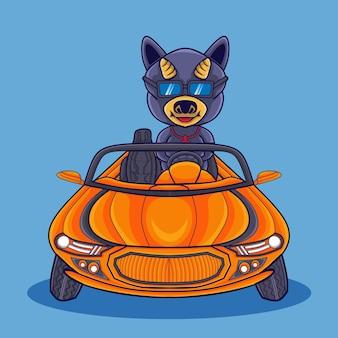 차를 운전하고 안경을 쓰고 있는 귀여운 암소 만화 아이콘 그림