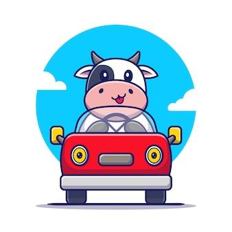 かわいい牛の運転車の漫画。分離された動物輸送アイコンの概念。フラット漫画スタイル