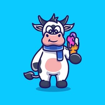 Cute cow eating ice cream illustration