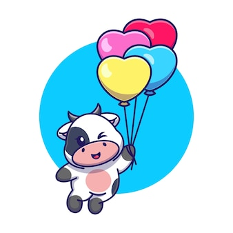 Cute cow floating with balloon cartoon