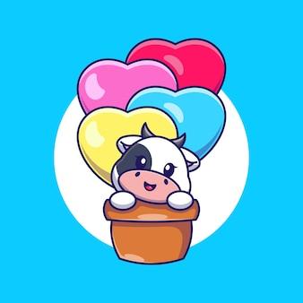 Cute cow flying with love balloon cartoon
