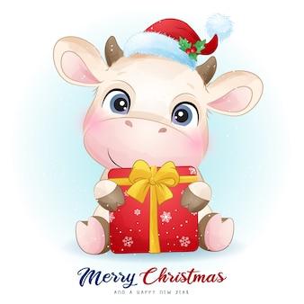 水彩イラストとクリスマスの日のかわいい牛