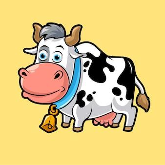 かわいい牛、面白いマスコットベクトルイラスト