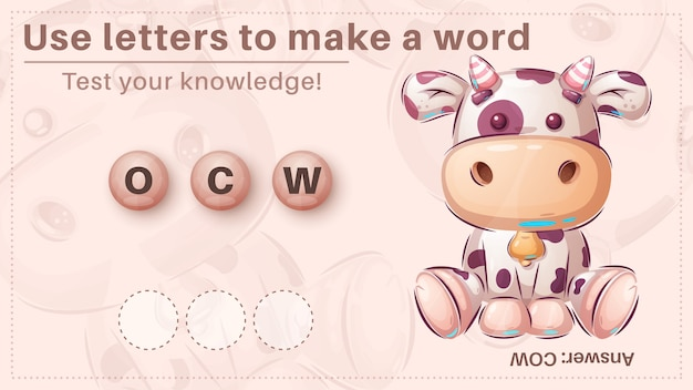 Cute cow - game for kids, make a word from letters