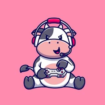 귀여운 암소 게임 만화 벡터 아이콘 그림입니다. 동물 기술 아이콘 개념 절연 프리미엄 벡터입니다. 플랫 만화 스타일
