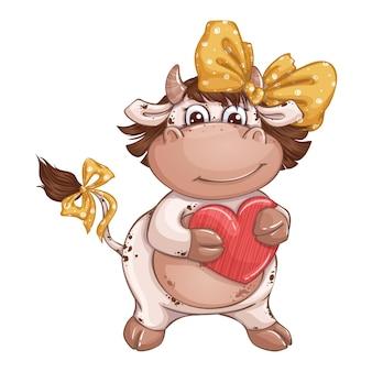 赤い光沢のあるハートを持った大きな美しい黄色の弓を持つかわいい牛の女の子。バレンタインデーのお祭りのキャラクター。