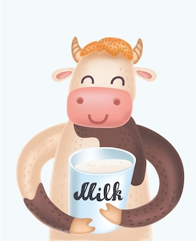 Милая корова дает большой палец вверх