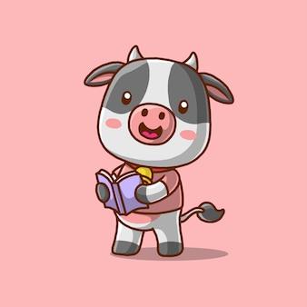 本を持って読んでいるかわいい牛