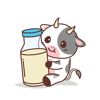 Cute cow holding a bottle of milk