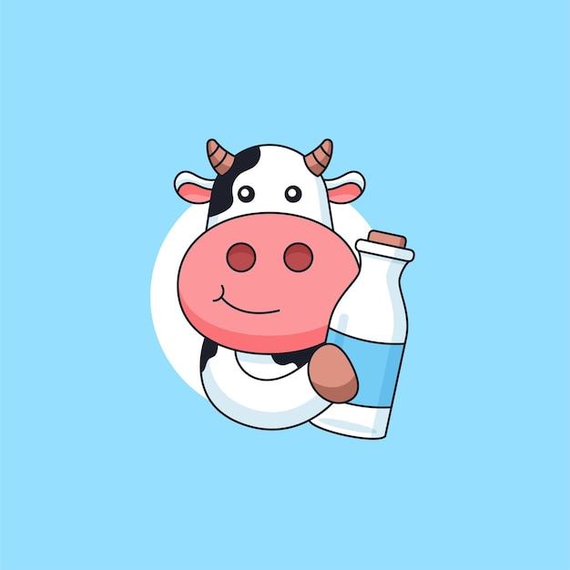 신선한 우유 병 동물 마스코트 로고 만화 벡터 일러스트 레이 션을 들고 귀여운 암소