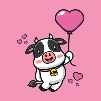Cute cow holding love balloon cartoon character illustration