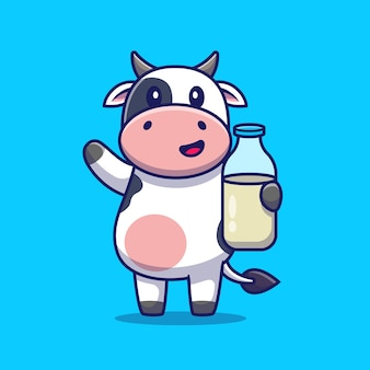 Cute cow holding milk. animal drink